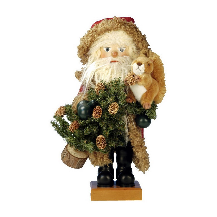Alexander Taron Wood Santa with Squirrel Nutcraker Ornament