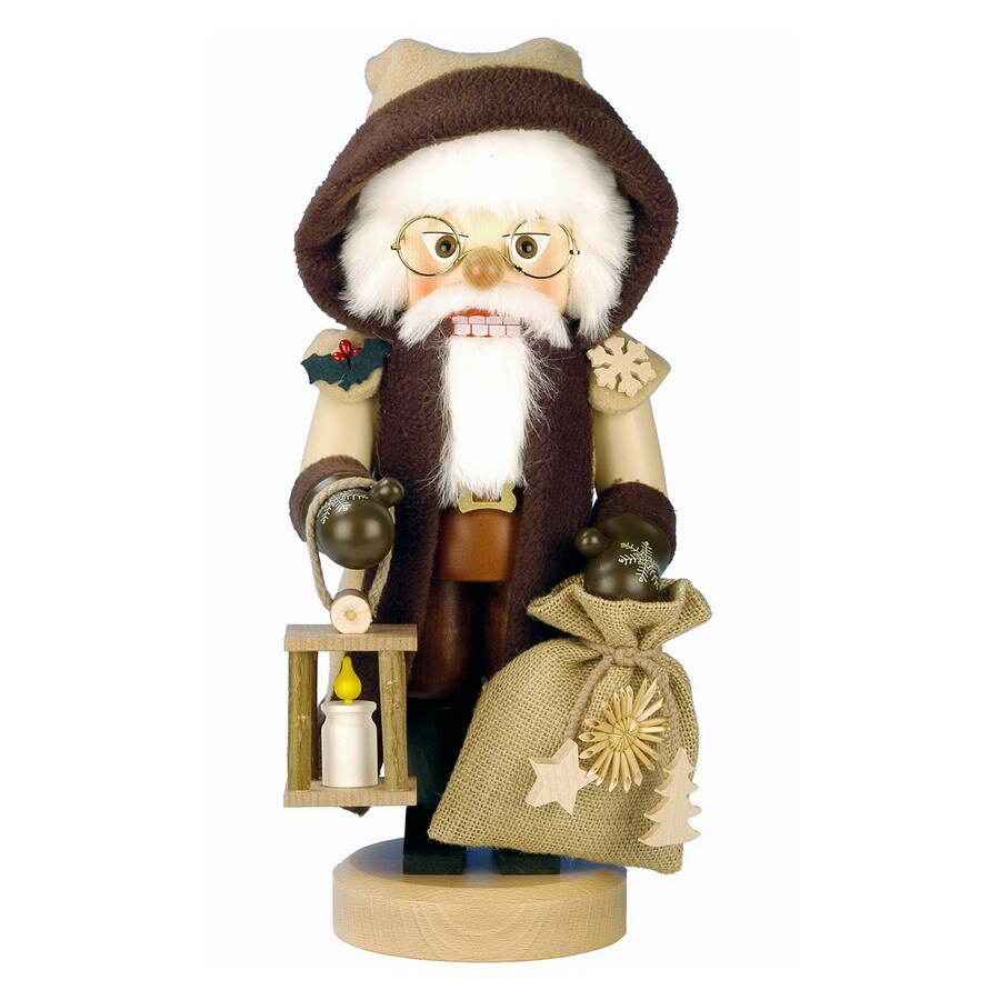 Alexander Taron Wood Santa Holding A Lantern with Candle Nutcraker Ornament