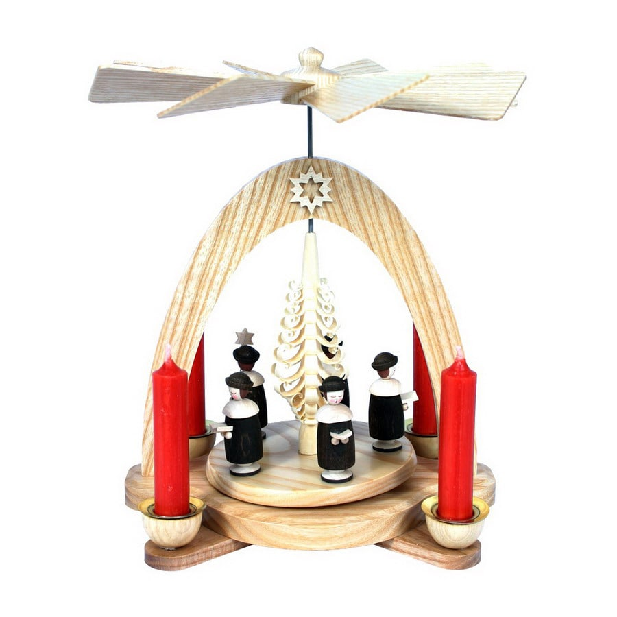 Alexander Taron Wood Carolers and Tree Pyramid Candle Holder