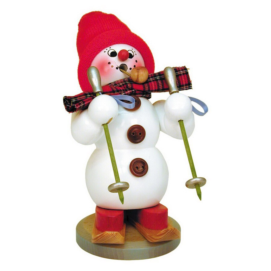 Alexander Taron Wood Snowman On Skis Smoker Ornament