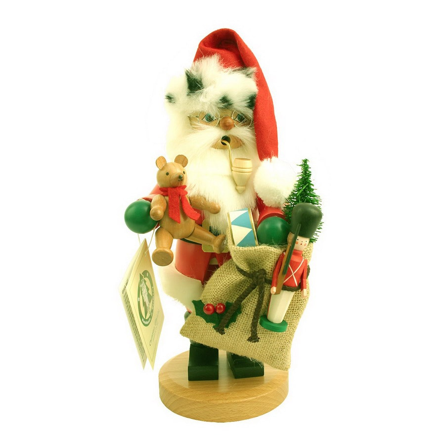 Alexander Taron Wood Santa with Present Smoker Ornament