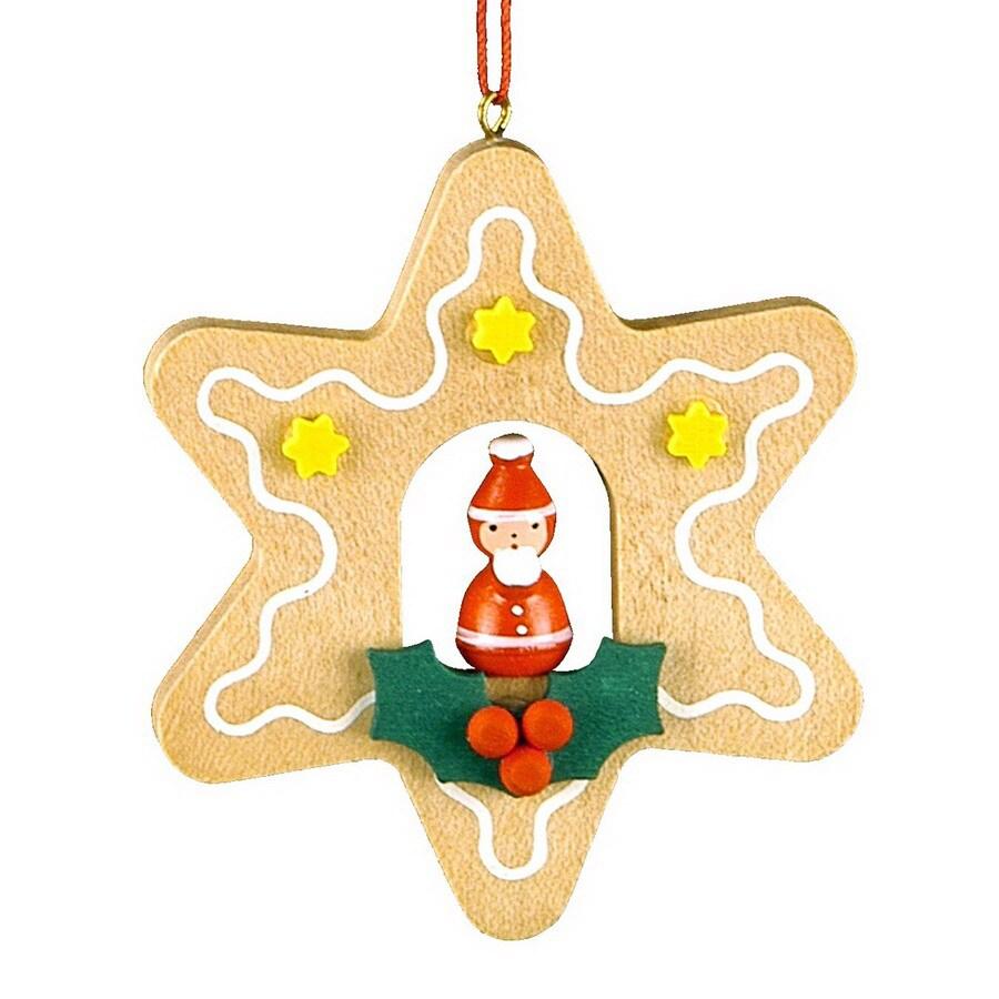 Alexander Taron Wood Santa Star Ornament