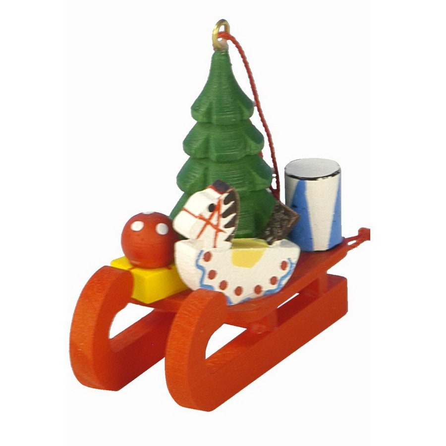 Alexander Taron Plastic Tree and Toy Sled Ornament