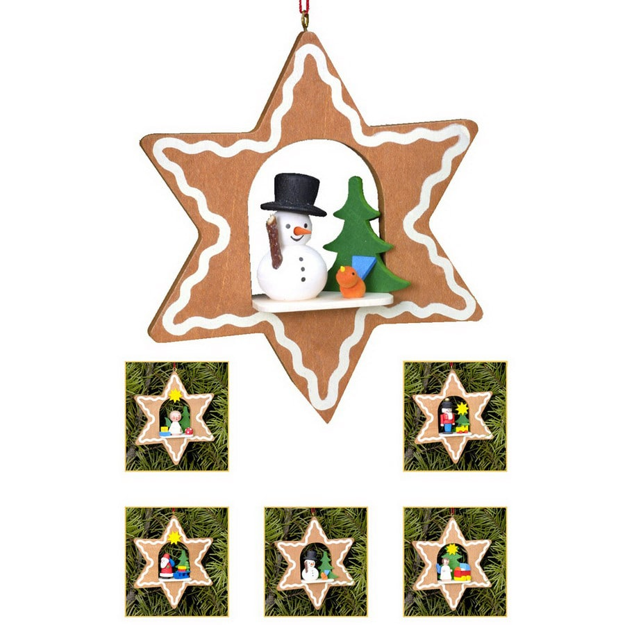 Alexander Taron 6-Pack Assorted Wood Star Ornaments