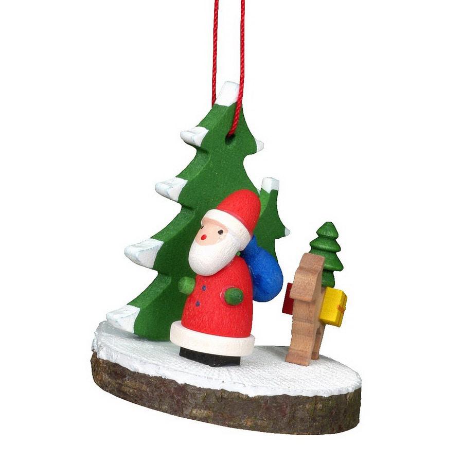 Alexander Taron Wood Santa with Fawn Ornament