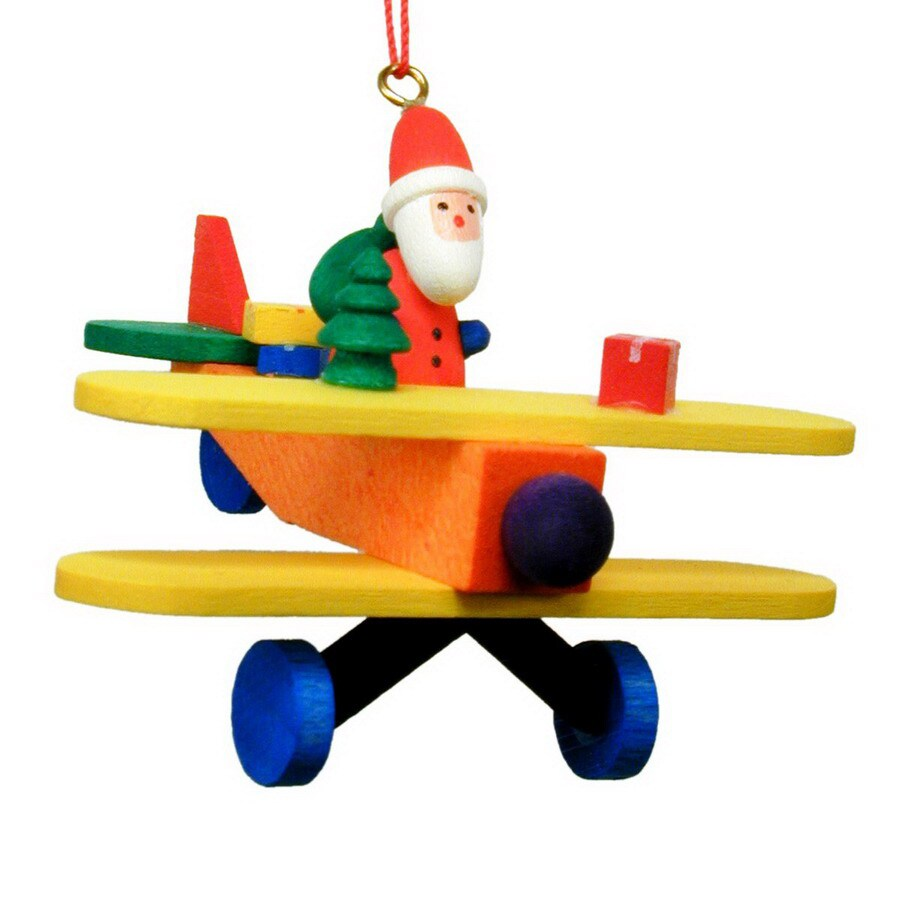 Alexander Taron Wood Santa Plane Ornament