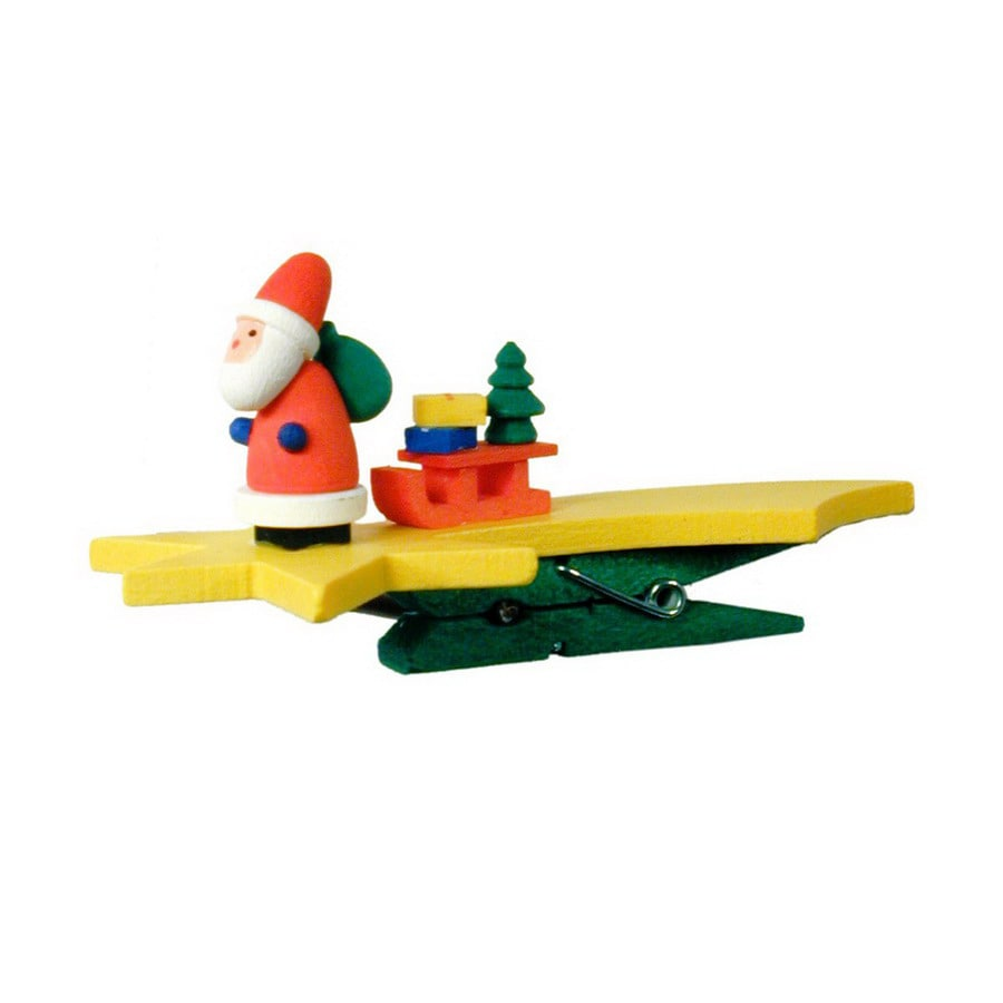 Alexander Taron Yellow Wood Santa Star Clip-On Ornament