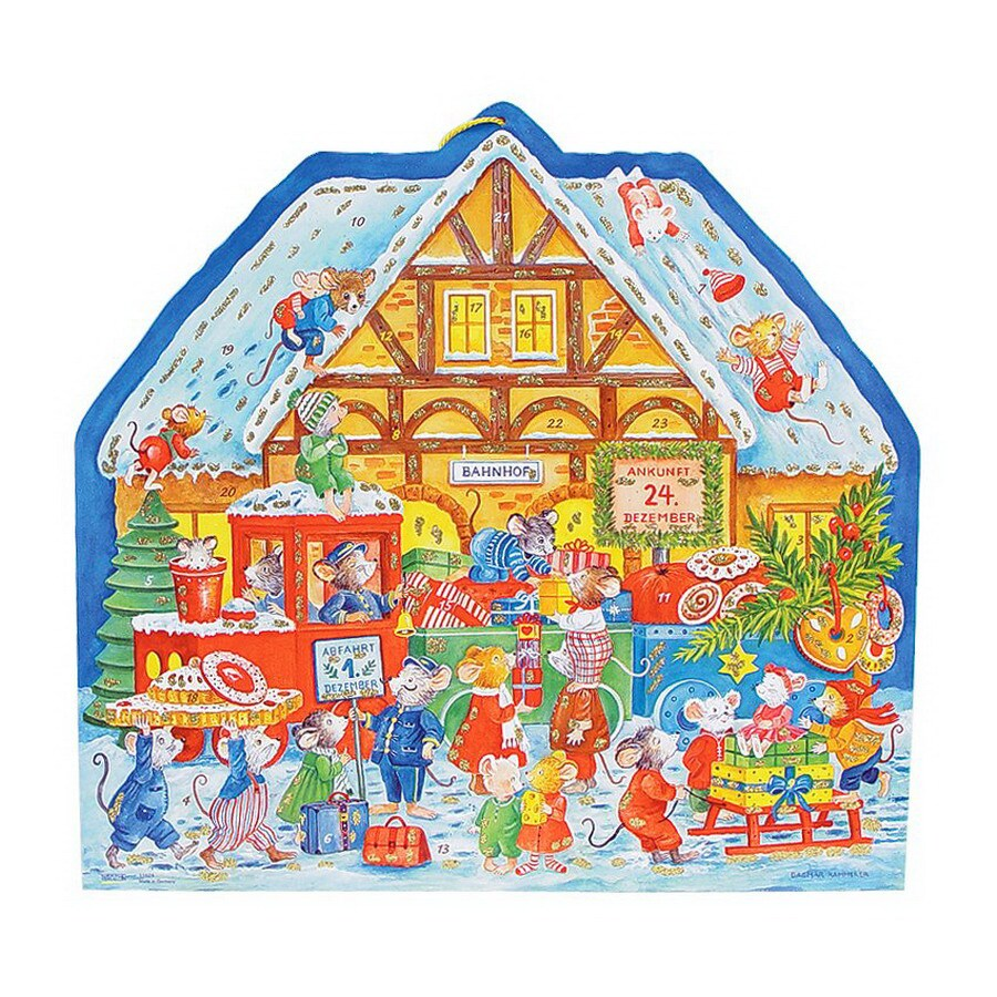 Alexander Taron Metal Mouse Train Station Advent Calendar Ornament