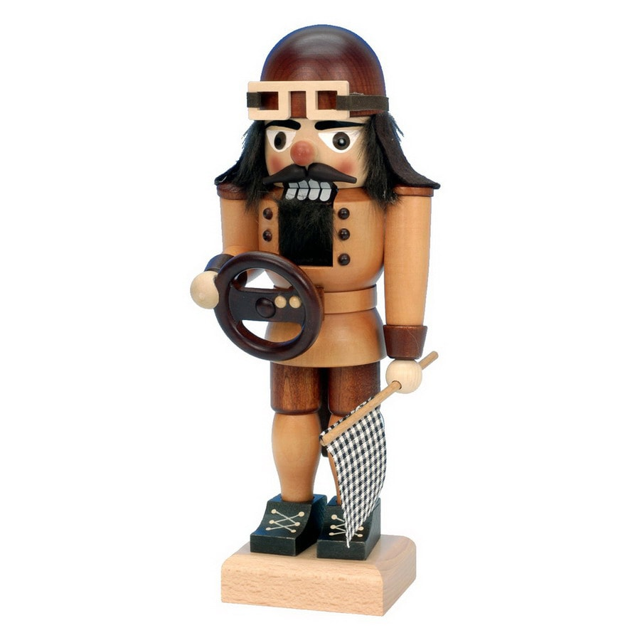 Alexander Taron Wood Racing Driver Small Natural Nutcracker Ornament