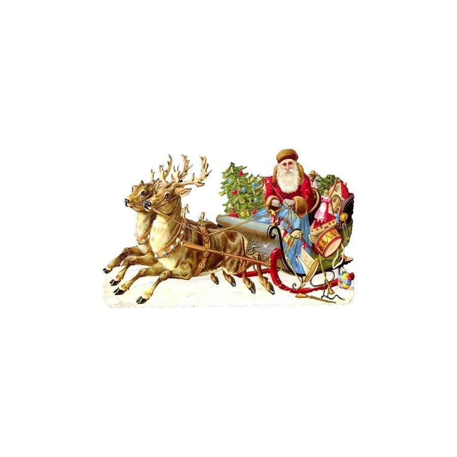 Alexander Taron Santa with Sleigh Standing Christmas Card Ornament