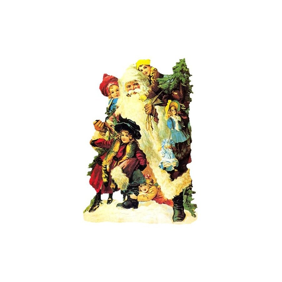 Alexander Taron Santa with Kids Standing Christmas Card Ornament