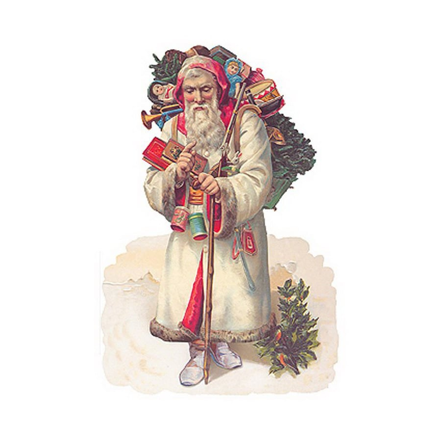 Alexander Taron White Santa Standing Christmas Card Ornament