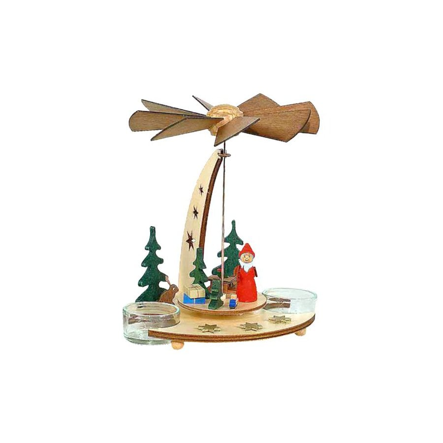 Alexander Taron Wood Santa Tea Candle Pyramid Ornament