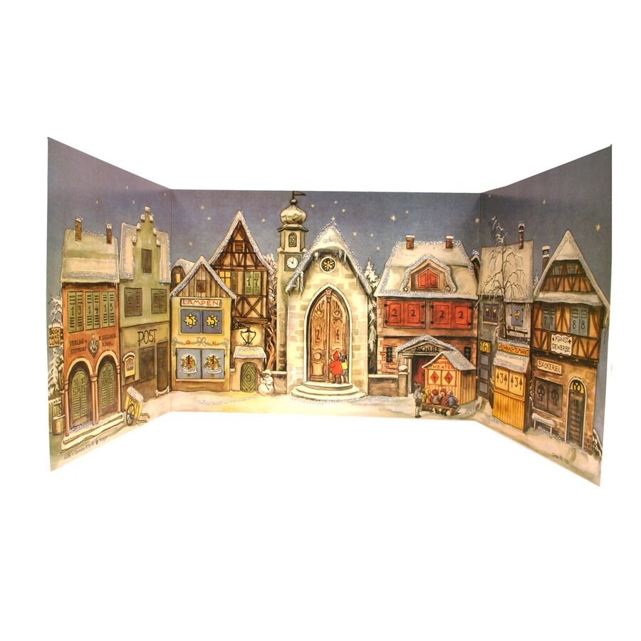 Alexander Taron Village Square Winter Scene Advent Calendar