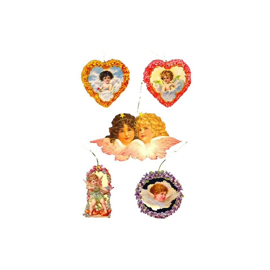 Alexander Taron 5-Pack Angel and Heart Gift Tag Ornaments