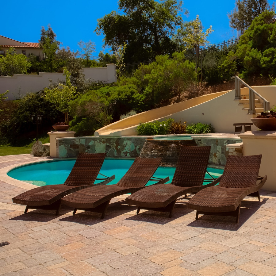 Shop best selling home decor toscana 4 count multi brown for Best poolside furniture