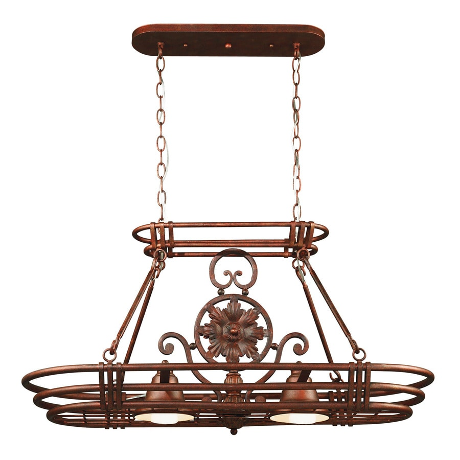 Kenroy Home Dorara 15-in W 2-Light Gilded Copper Hardwired Lighted Pot Rack with Metal Shades