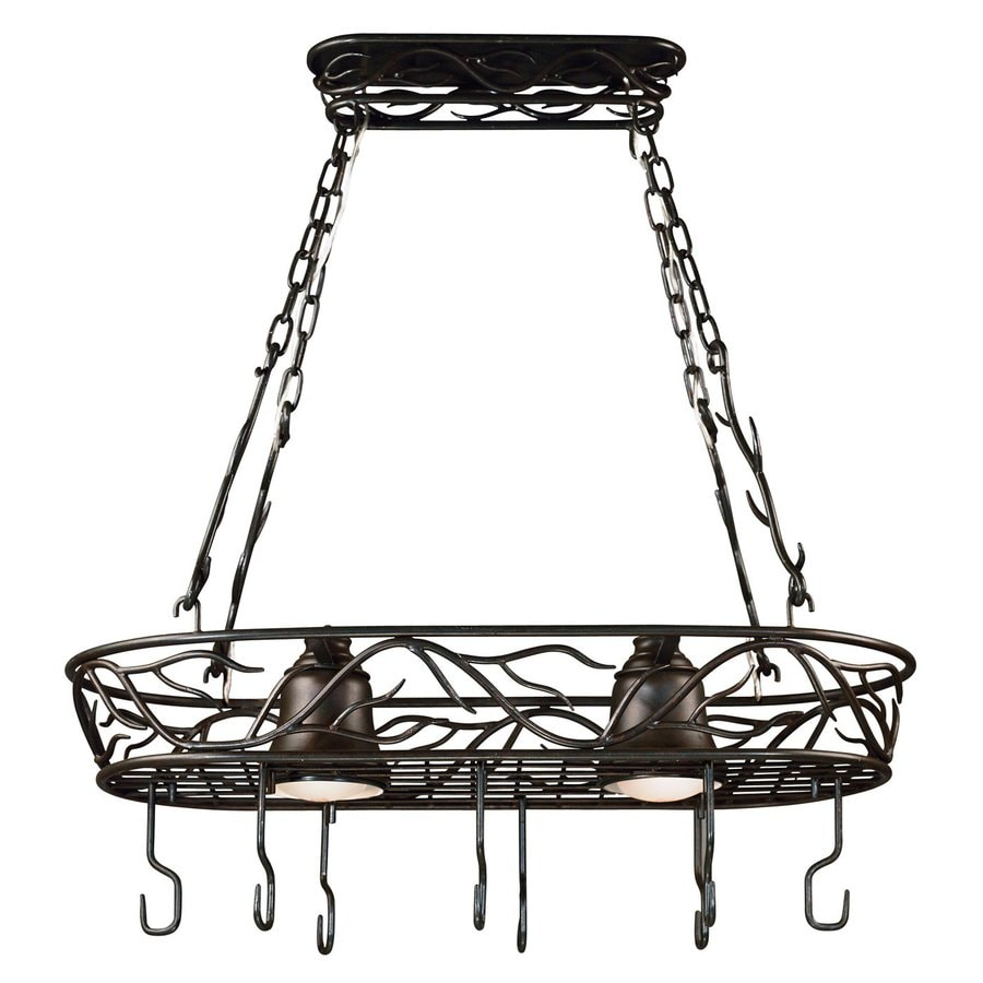 light bronze hardwired lighted pot rack with metal shades at. Black Bedroom Furniture Sets. Home Design Ideas