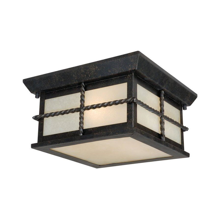 Cascadia Lighting Savannah 10-in W Gold Stone Outdoor Flush-Mount Light