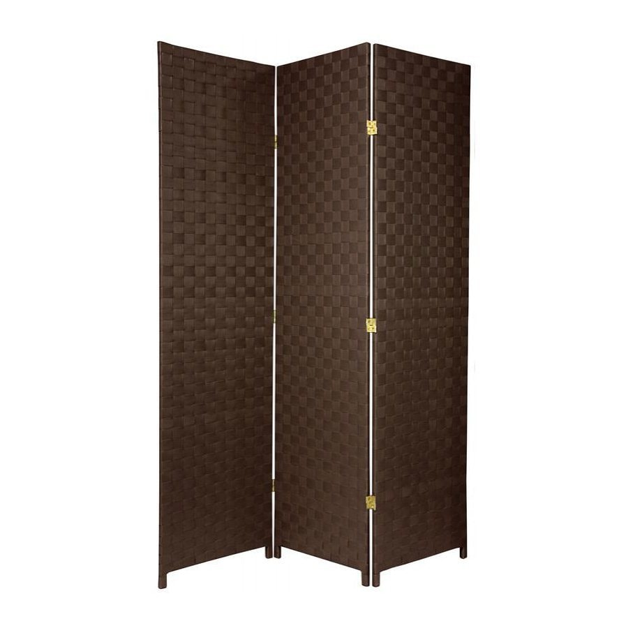 Oriental Furniture 52.5-in W x 71-in H Dark Brown Vinyl/Polyresin Outdoor Privacy Screen