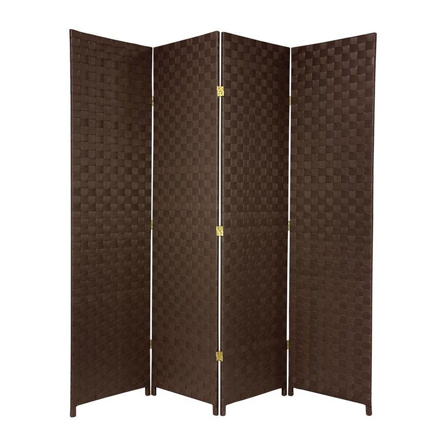 Oriental Furniture 70-in W x 71-in H Dark Brown Vinyl/Polyresin Outdoor Privacy Screen