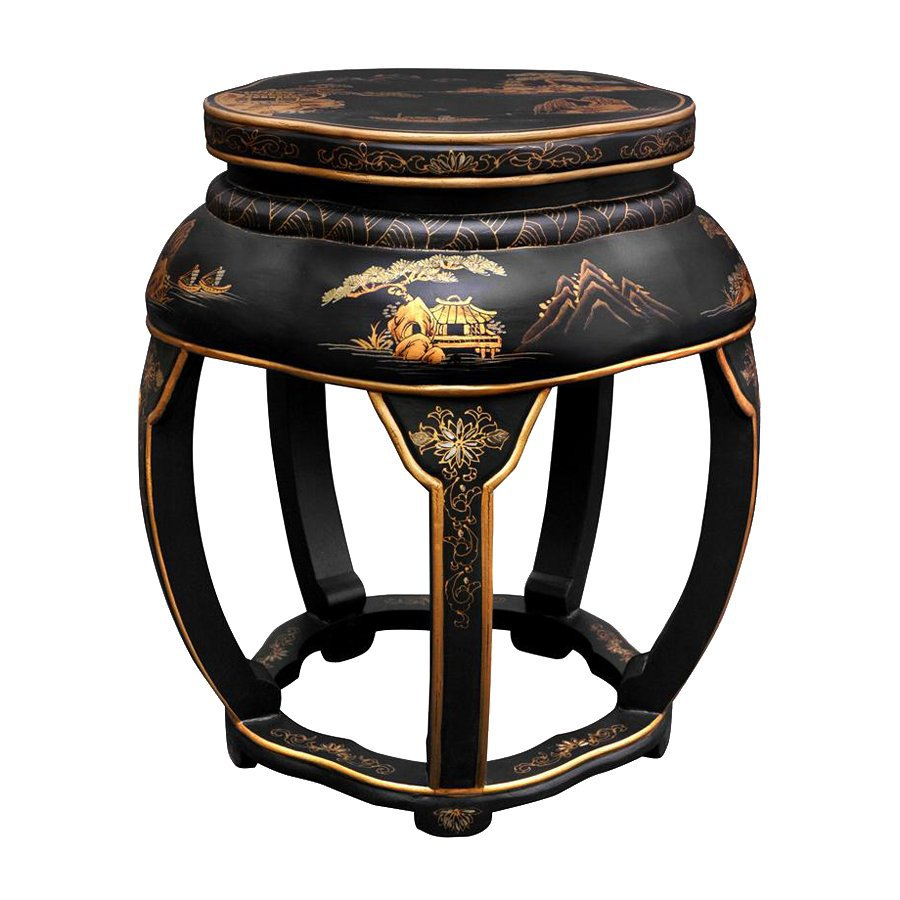 Shop Oriental Furniture 18 In Black Indoor Round Wood