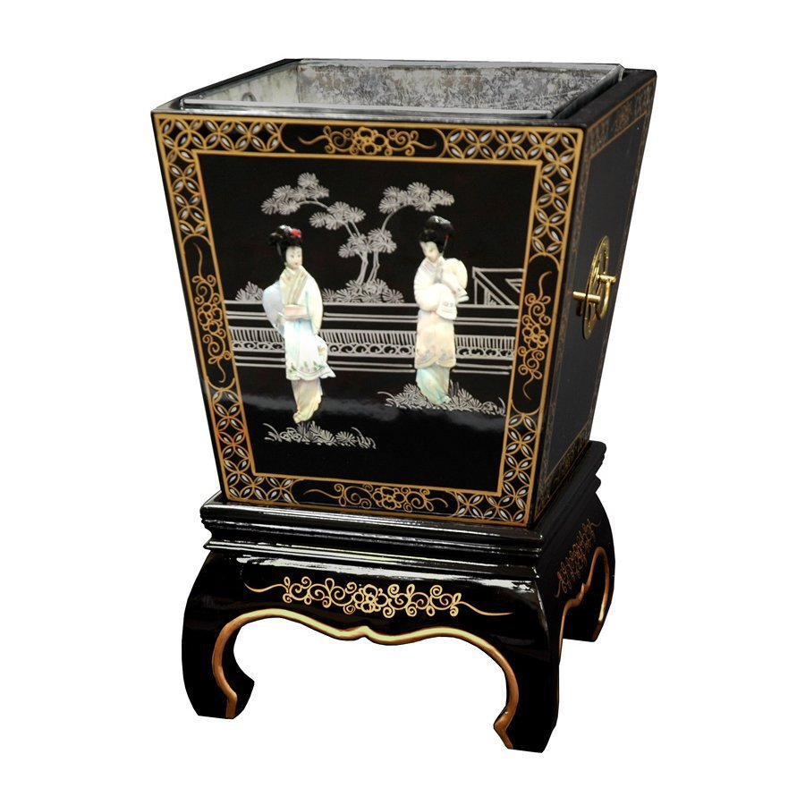 Lovely Oriental Furniture 16 In Black Square Wood Plant Stand