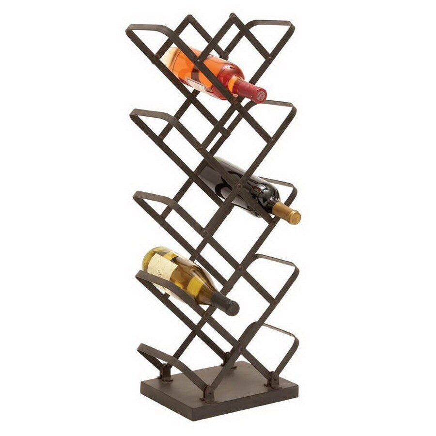 Woodland Imports 15-Bottle Brown and Gray Freestanding Floor Wine Rack