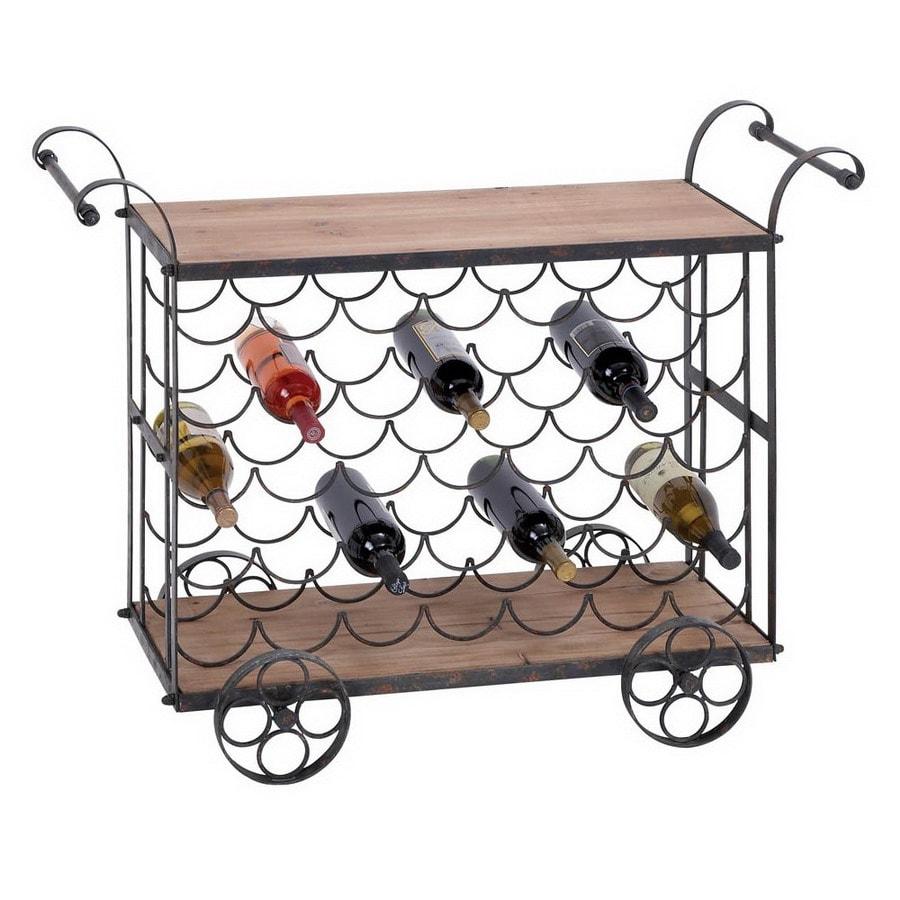 Woodland Imports 35-Bottle Brown and Black Freestanding Floor Wine Rack