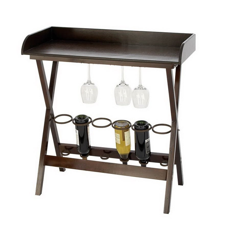 Woodland Imports 6-Bottle Royal Black and Brown Freestanding Floor Wine Rack