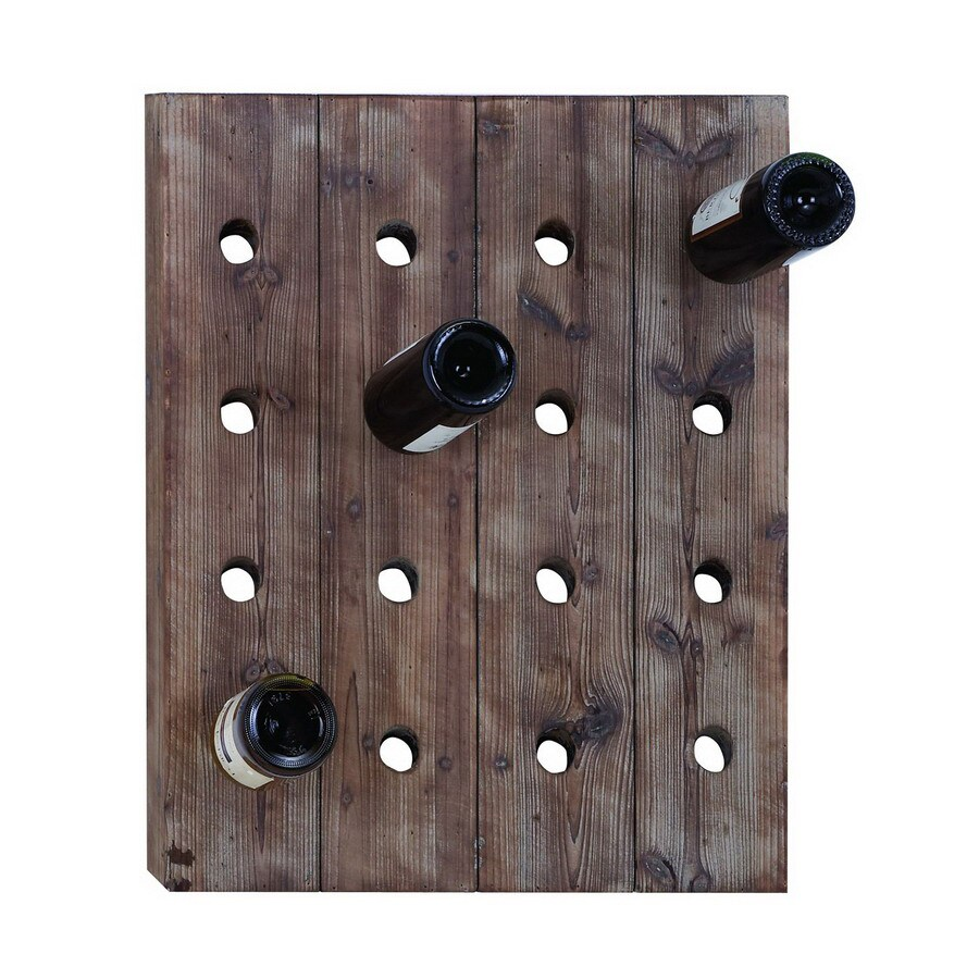 Shop Woodland Imports 16-Bottle Exposed Mahogany Brown Wall-Mount ...