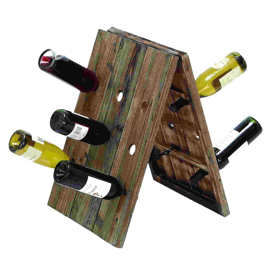 shop woodland imports rustic bottle tabletop wine rack at lowescom - woodland imports rustic bottle tabletop wine rack
