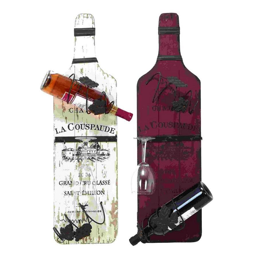 Woodland Imports Rustic 4-Bottle Wall-Mount Wine Rack