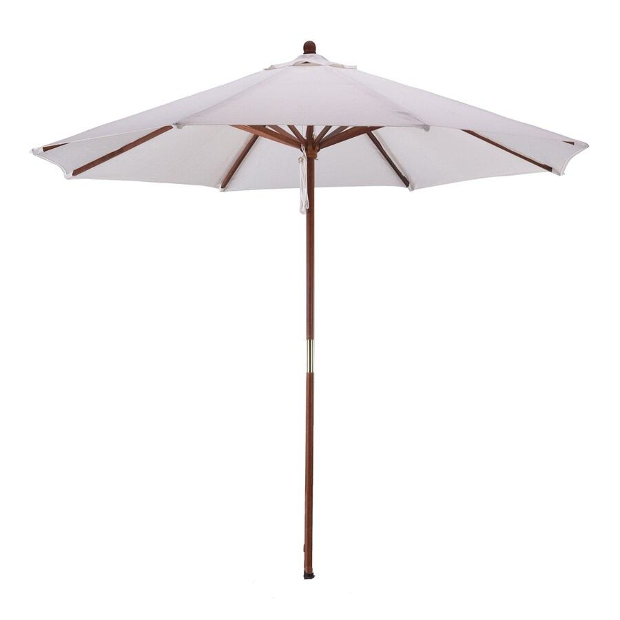 Phat Tommy Natural White Market Patio Umbrella (Common: 9-ft W x 9-ft L; Actual: 9-ft W x 9-ft L)