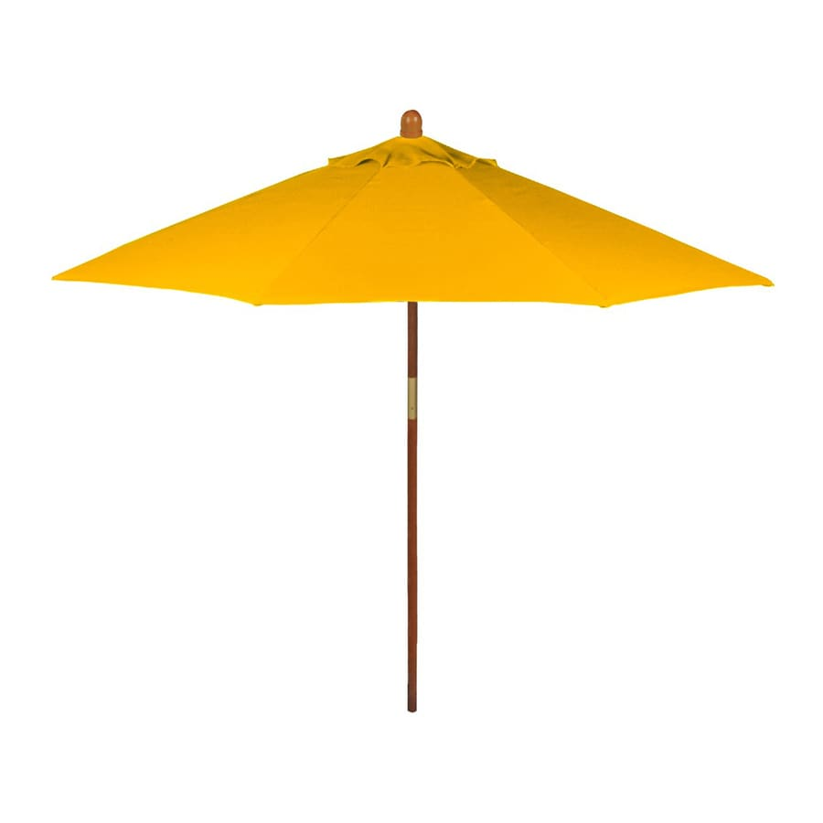Phat Tommy Sunshine Yellow Market 9 Ft Octagon Patio Umbrella With Wood Frame