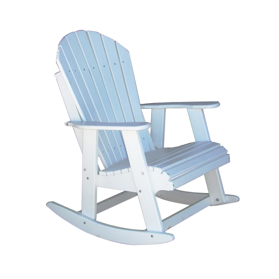 shop phat tommy alpine white wood slat seat outdoor rocking chair at. Black Bedroom Furniture Sets. Home Design Ideas
