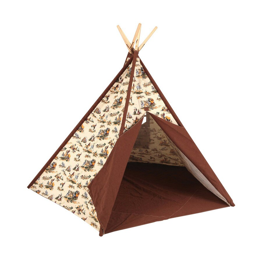 Shop pacific play tents cowboy tee pee wood playhouse kit for Wood tents