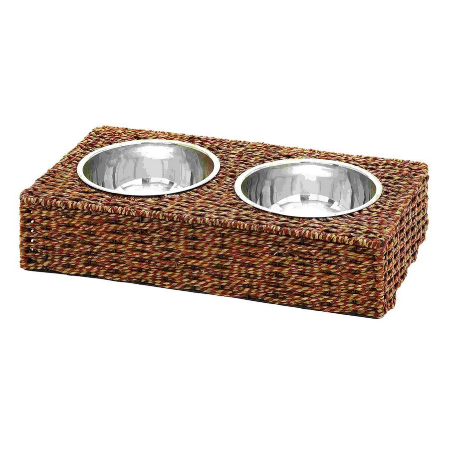 Woodland Imports Steel Stainless Steel Double Basin Pet Bowl
