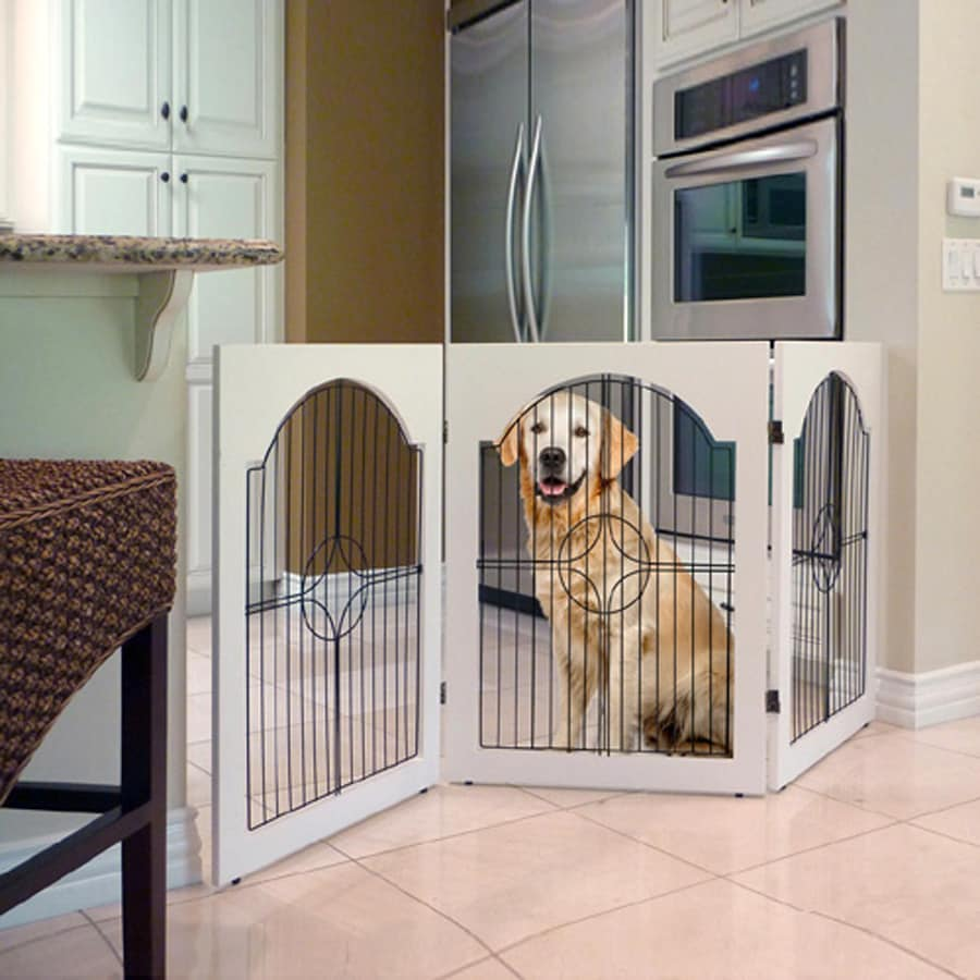 Majestic Pets White Universal Free Standing Pet Gate with Wood Insert