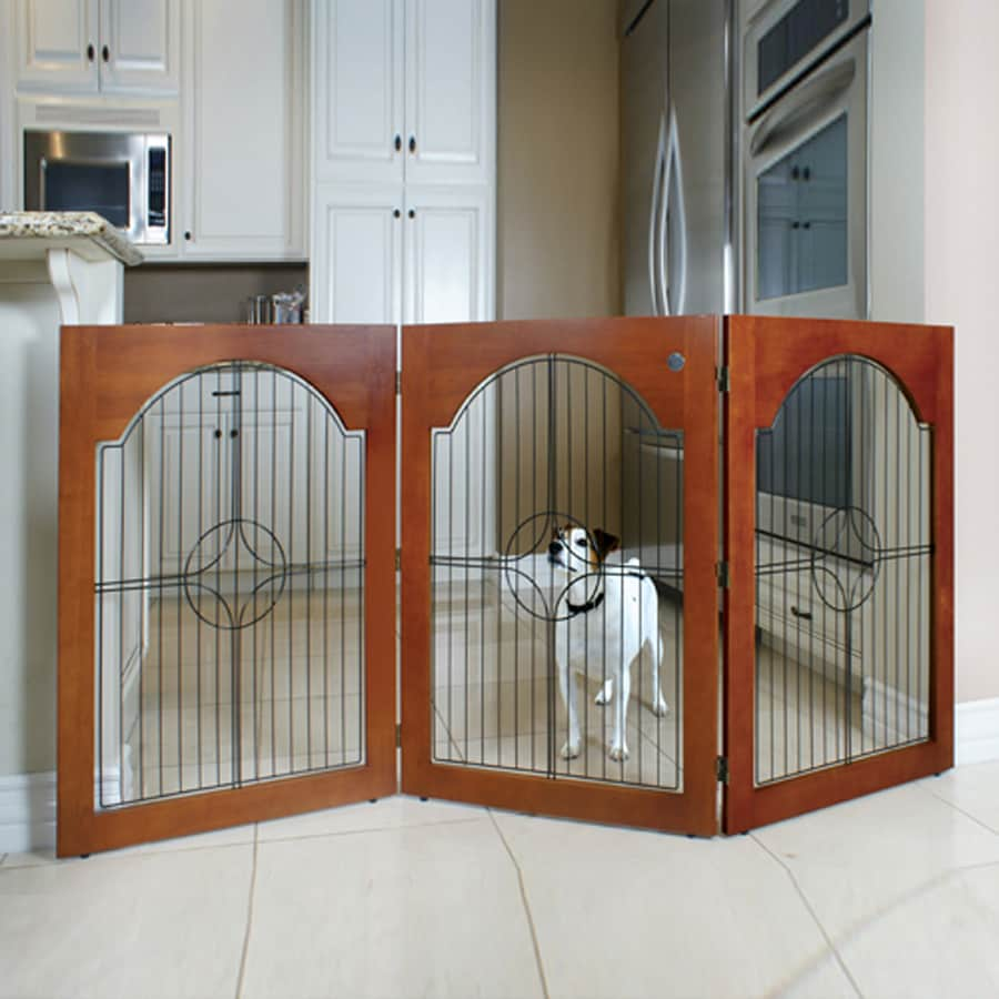 Majestic Pets Cherry Stain Universal Free Standing Pet Gate with Wood Insert