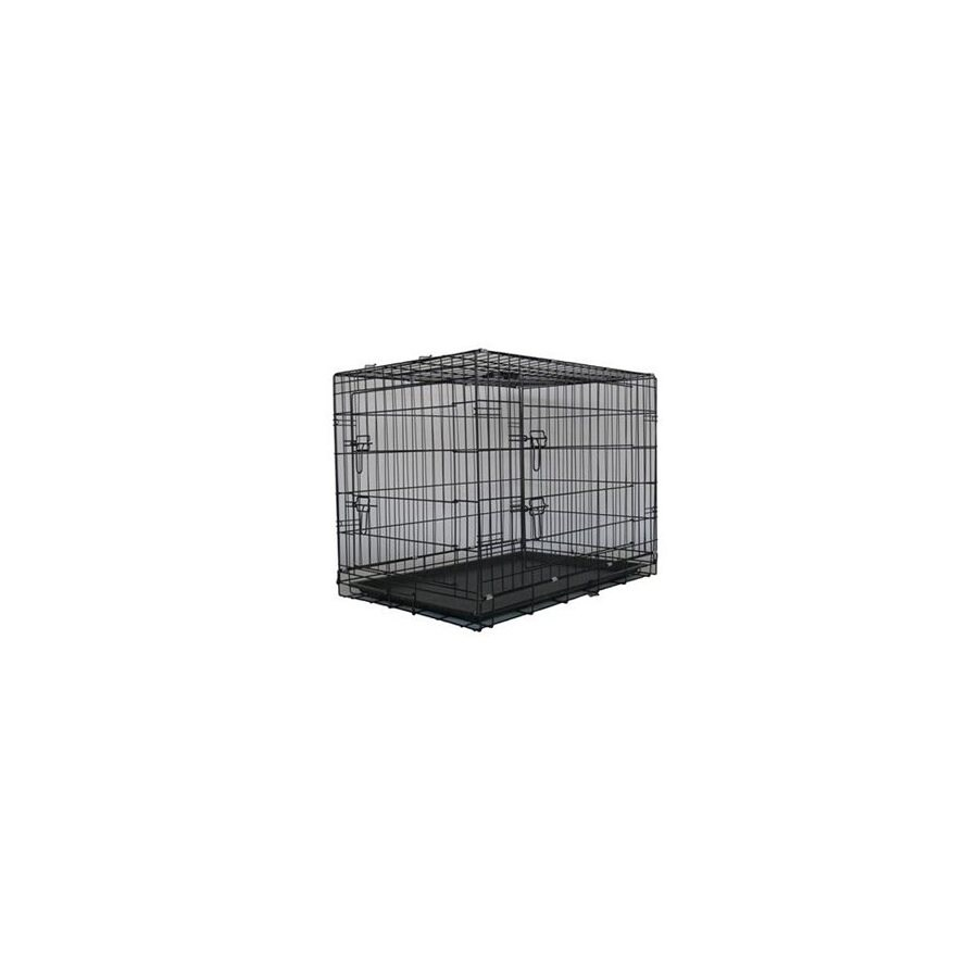 Go Pet Club 3-ft x 2-ft x 2.16-ft Antitrust Black Collapsible Plastic and Wire Pet Crate