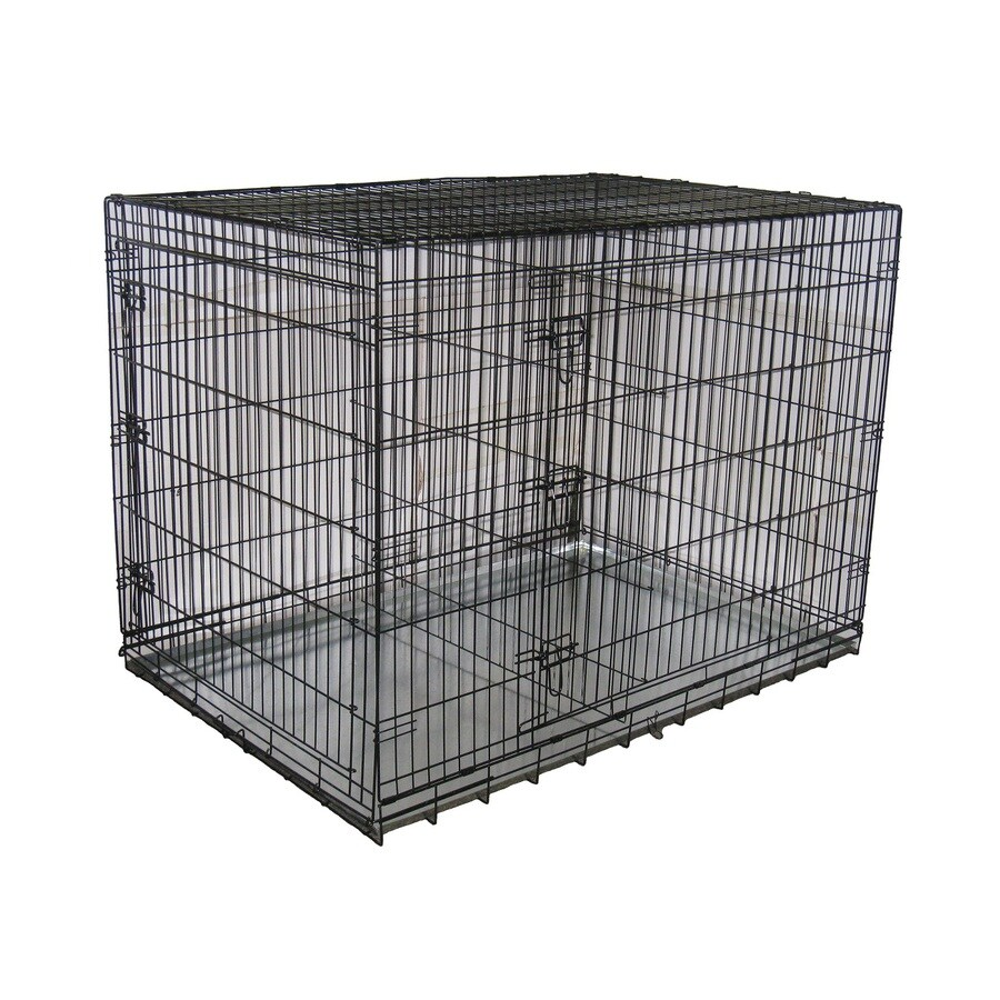 Go Pet Club 54-in x 37-in x 39-in Antirust Black Collapsible Wire Pet Crate
