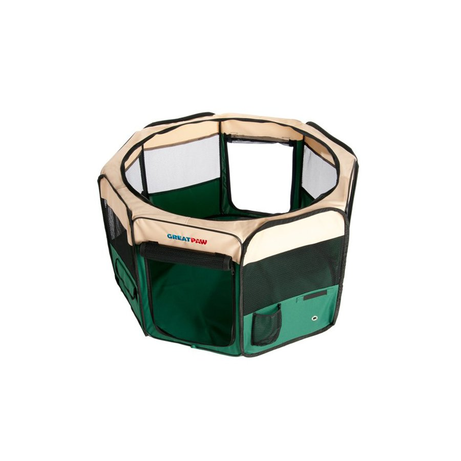 Great Paw 3.16-ft x 3.16-ft x 2-ft Green Collapsible Pet Crate