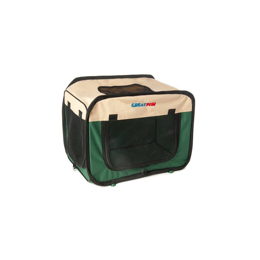 Great Paw 1.66-ft x 1.08-ft x 1.16-ft Green Collapsible Pet Crate