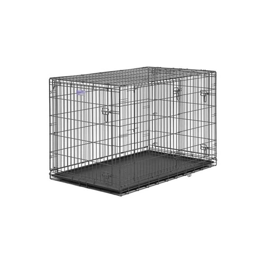 midwest pets 2.5-ft x 1.58-ft x 1.75-ft Pewter Collapsible Plastic and Wire Pet Crate