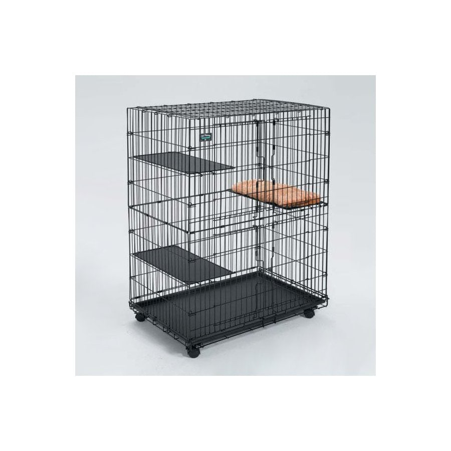 midwest pets 2.97-ft x 1.95-ft x 4.25-ft Black Collapsible Plastic and Wire Pet Crate