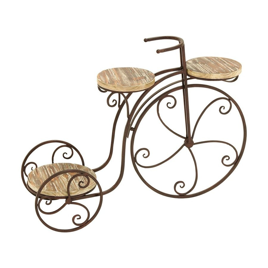 Woodland Imports 3-Shelf Tricycle 23-in Metallic/Copper Brown Outdoor Wood Plant Stand
