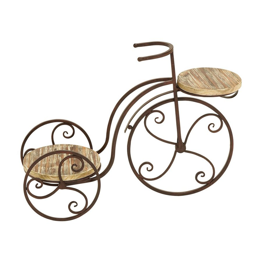 Woodland Imports 2-Shelf Tricycle 19-in Metallic/Copper Brown Outdoor Wood Plant Stand