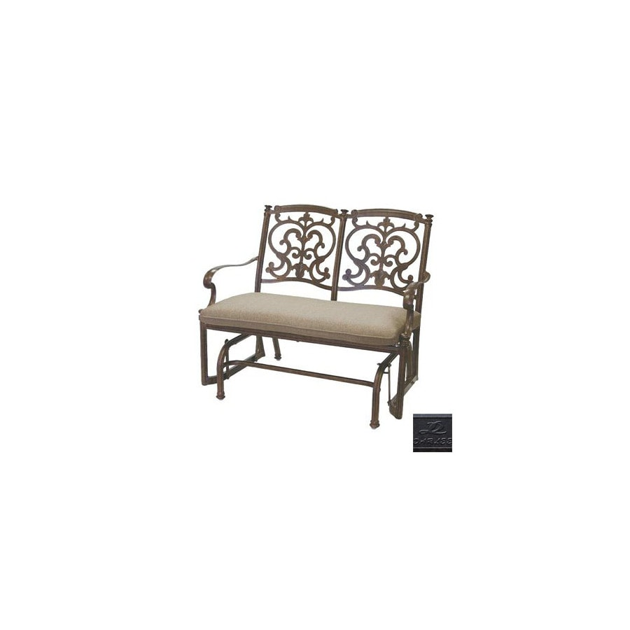 Darlee 2-Seat Cast Aluminum Traditional Antique Bronze Santa Barbara Bench Glider with Cushions
