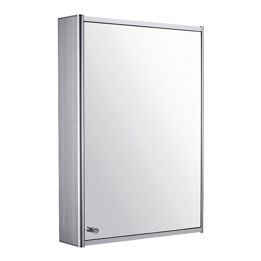 Whitehaus Collection 19.75-in x 27.5-in Rectangle Surface Mirrored Aluminum Medicine Cabinet